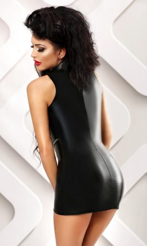miniabito latex aperto davanti con zip
