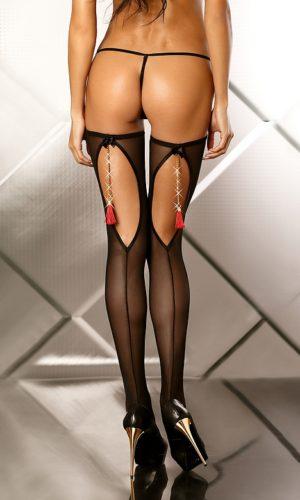 sexy calze aperte dietro con gioiello