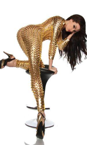 sexy tuta oro effetto lucido