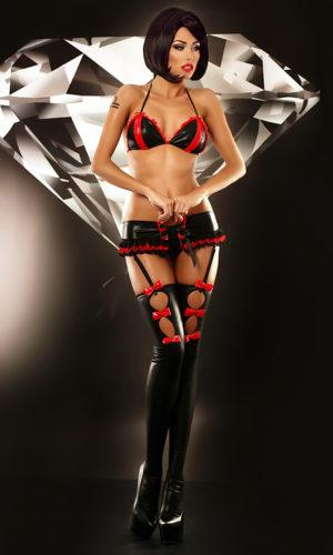 completo sexy latex nero e rosso