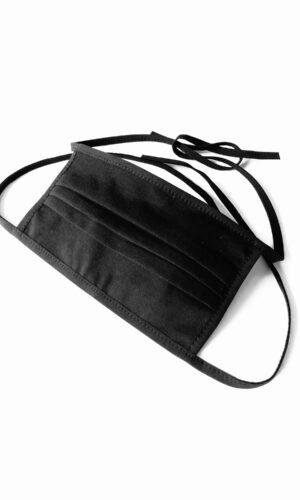 MASCHERINA IN COTONE LAVABILE NERA con lacci e tasca x filtro CRIS