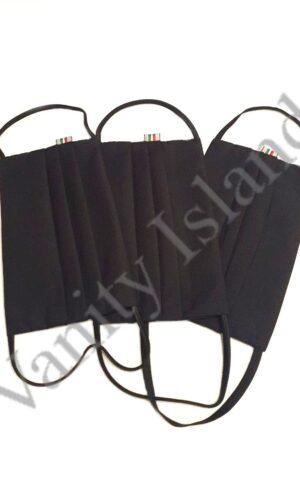 Mascherina nera in cotone con tasca per filtro in tre misure Uomo, Donna, Bambino