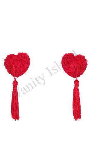 copricapezzoli a cuore rossi con rosette