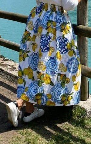 gonna lunga fantasia Costiera Amalfitana padocuba moda