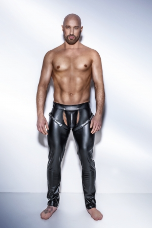 h042 pantaloni wetlook uomo