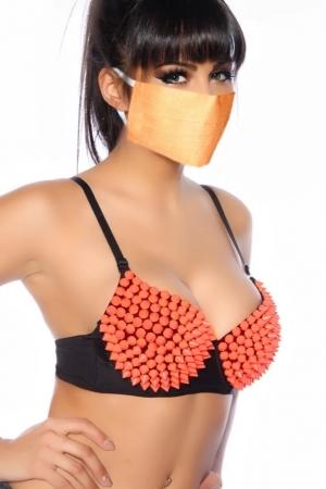 Mascherina Gialla in cotone con tasca filtro arancio